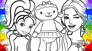 Colorindo Desenho da Polly pocket Barbie e Doutora brinquedos Learn colors friendly Cartoon infantil