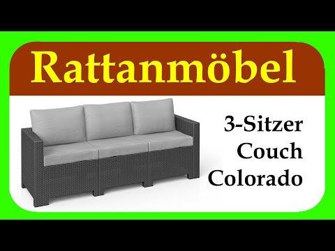 Colorado 3 Sitzer Couch | Gartenideen | günstiger 3 Sitzer für Balkon, Terrasse und Garten