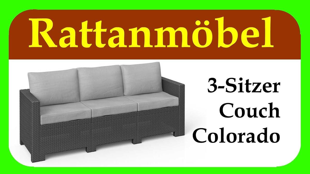 colorado 3 sitzer couch gartenideen g nstiger 3 sitzer f r balkon terrasse und garten youtube. Black Bedroom Furniture Sets. Home Design Ideas