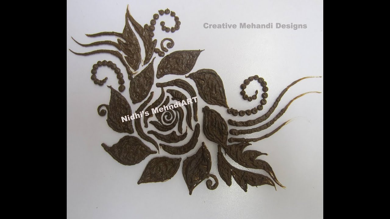 how to draw easy rose flower patch in henna mehndi design