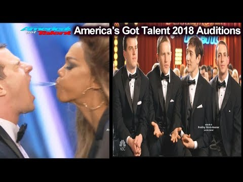 Tyra Banks Spitting at Human Fountains &Their Backstory America's Got Talent 2018 Auditions S13E01