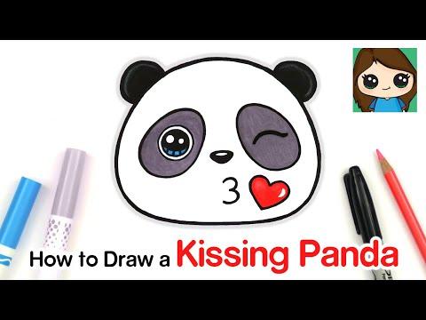 How To Draw + Color A Panda Kissing Emoji Easy