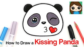 How to Draw + Color a Panda Kissing Emoji Easy