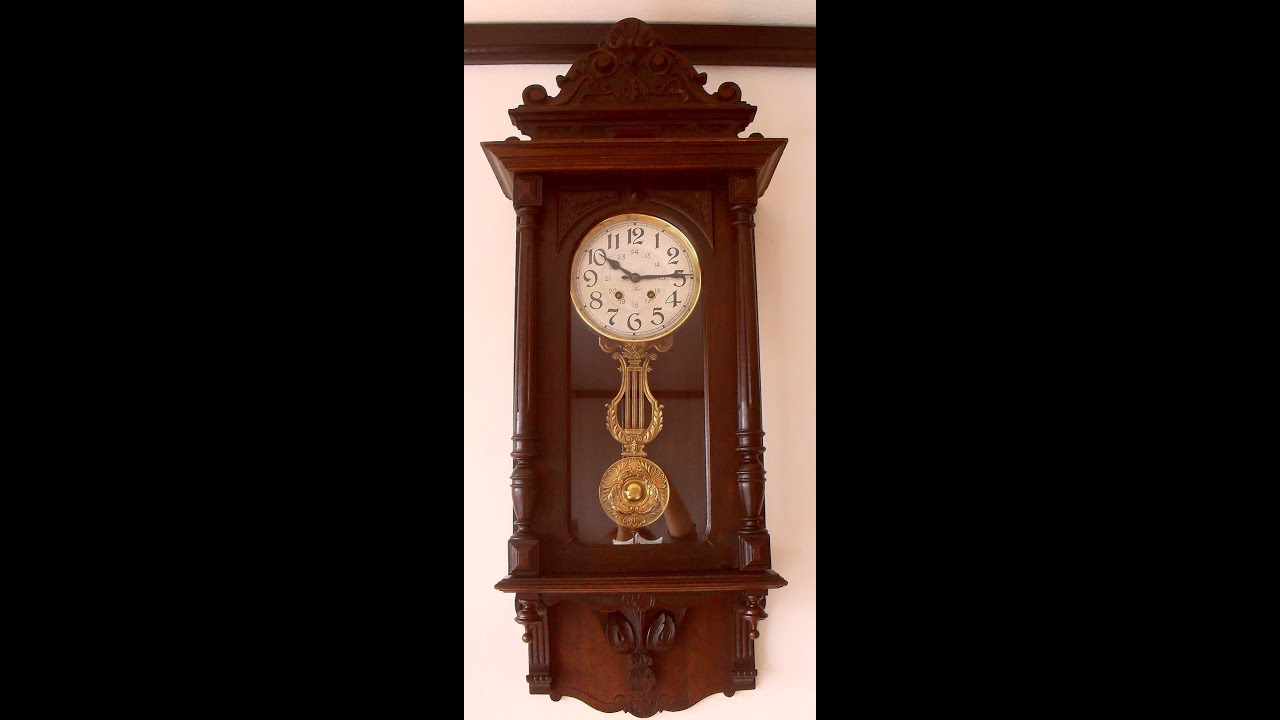 Japy freres art nouveau wall clock with lyre pendulum from 1900s japy freres art nouveau wall clock with lyre pendulum from 1900s amipublicfo Images