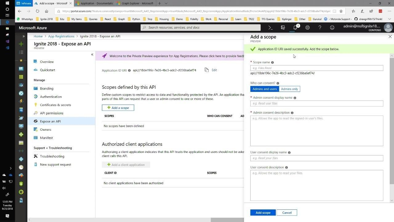 Registering and managing apps through Microsoft Azure Portal and Microsoft  Graph API - THR2079