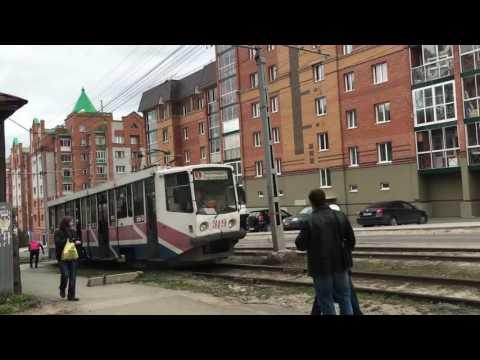 ЧП Томск. Печатный двор. 10 мая 2016. Загорелся трамвай