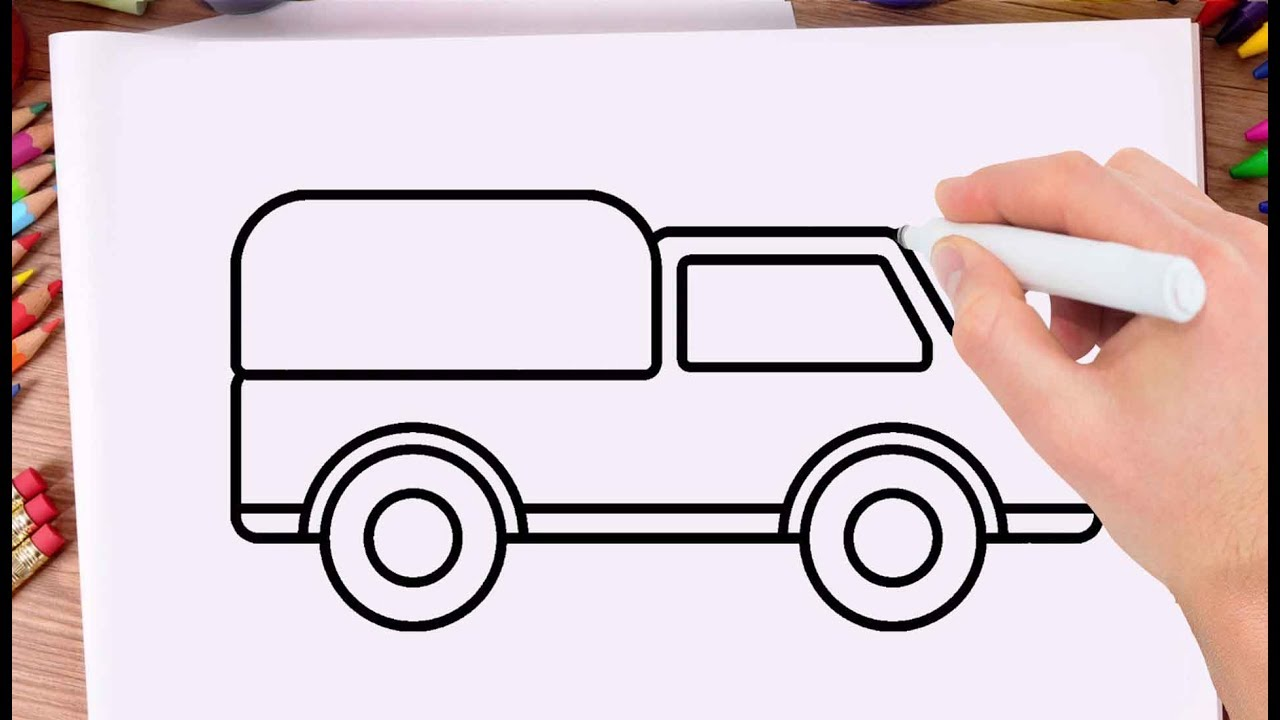 How To Draw A Car For Children Drawing Car Step By Step And Very Easy Drawing For Kids Youtube
