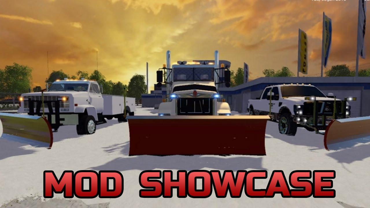 Farming Simulator 2015- Mod Showcase #3 F250, GMC, Kenworth All With Plows!