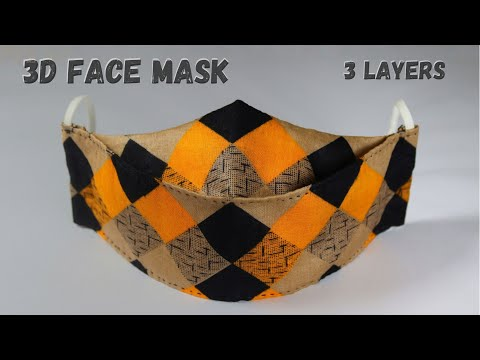 3D Face Mask Tutorial || DIY Fabric Face Mask || No Sewing Machine