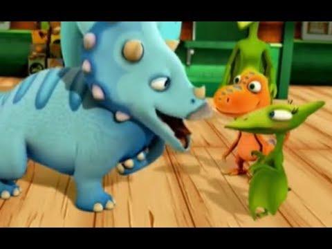 Поезд динозавров Обед трицератопсов Мультфильм для детей про динозавров