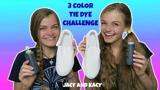 3 Color Tie Dye Shoe Challenge ~ DIY Fun Shoes ~ Jacy and Kacy