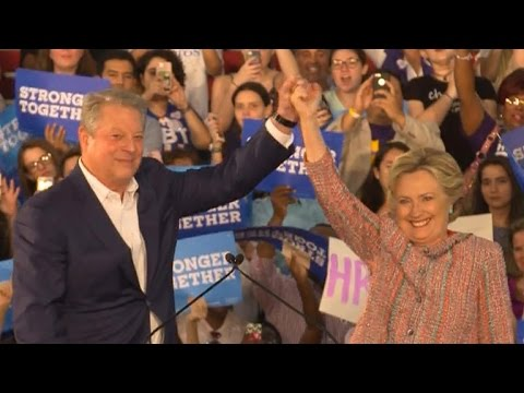 Al Gore and Hillary Clinton address climate change in Miami, Florida