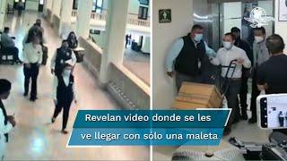 Autoridades del gobierno de Tamaulipas revelan un video en donde se ve a funcionarios de la Cámara de Diputados entregar una sola maleta al gobernador