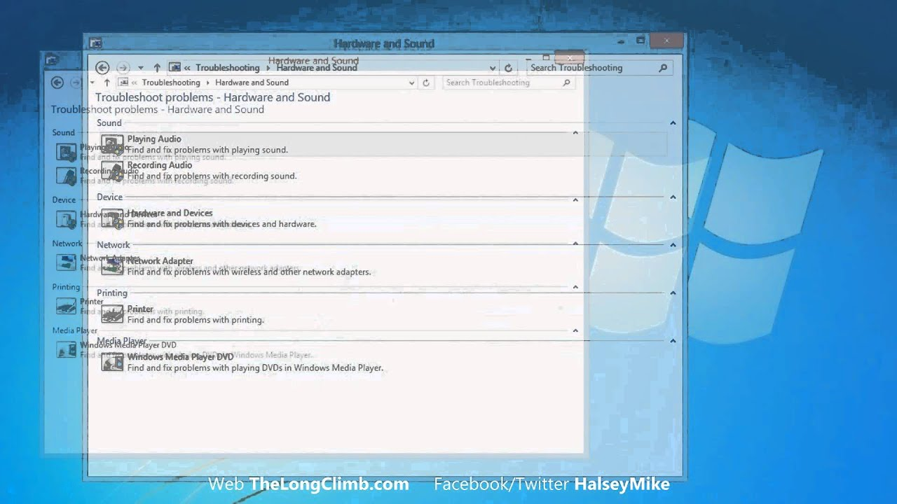 Using the Automated Troubleshooters in Windows 8