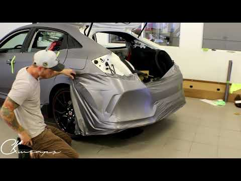 How To Vinyl Wrap A Rear Bumper In Brushed Metal On A  Honda Civic Typer R  By @ckwraps