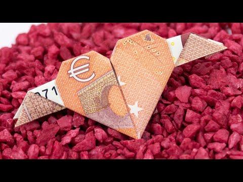 Geld falten Herz mit Flügeln ❤️ Geldgeschenke zur Hochzeit basteln
