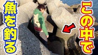 テトラポッドの隙間にルアーを入れて魚を狙う!!