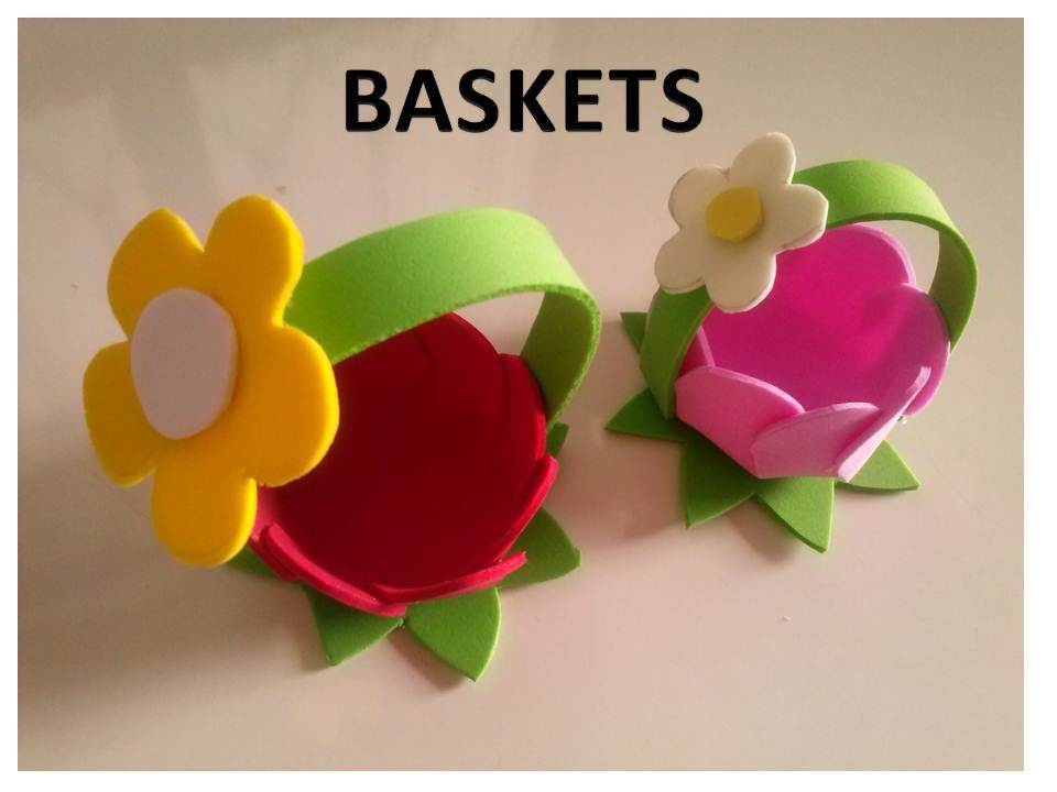 Diy foam sheets baskets youtube for Fomic sheet decoration youtube