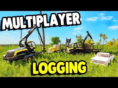 BIG MULTIPLAYER LOGGING CREW   Farming Simulator 17 Platinum Multiplayer Gameplay