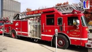 Detroit Fire Department Different Ladder Trucks & Quint, 10/24/2014.
