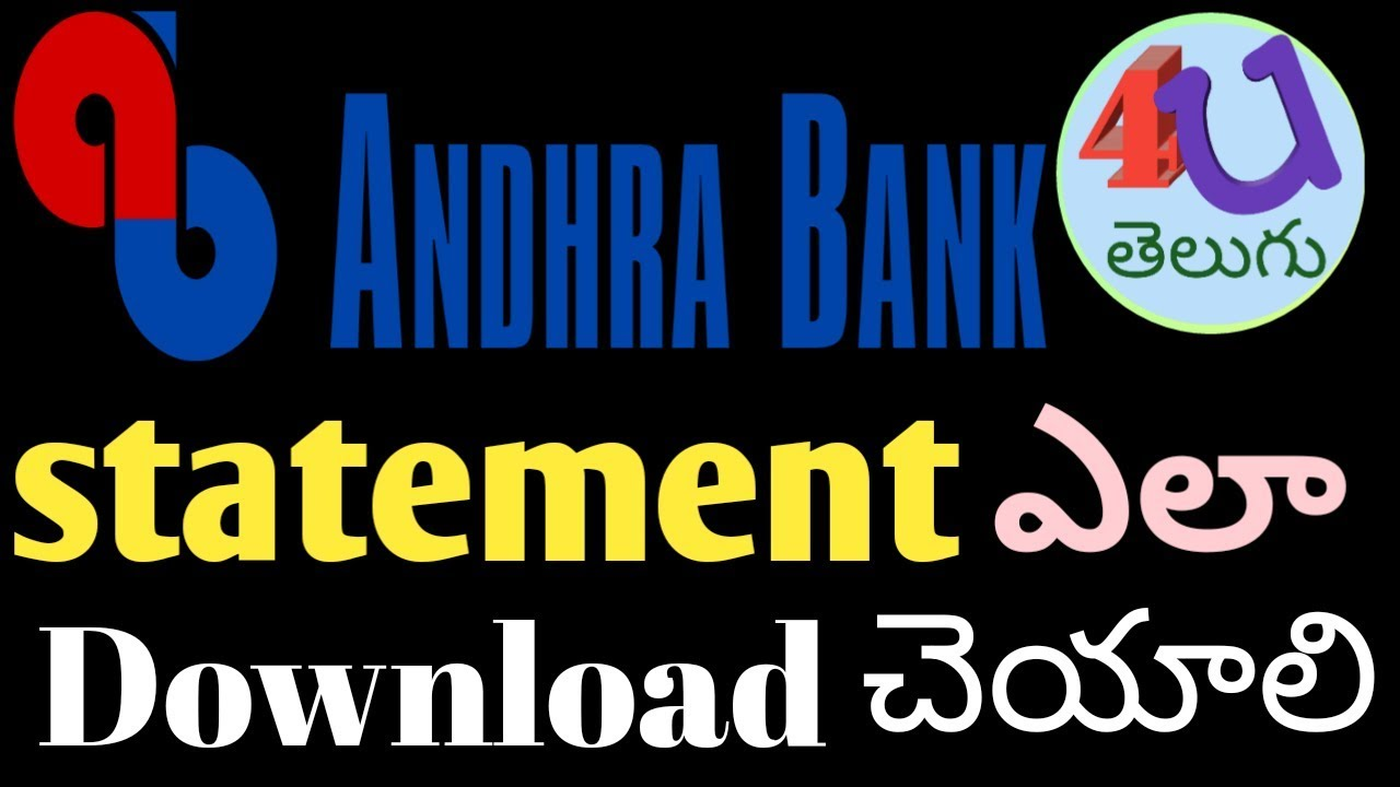 How To Get Andhrabank Account Statement In Telugu 2018 Youtube