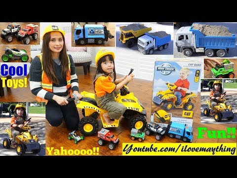 Construction Trucks Playtime! Police Car and Fire Truck Toys! Ride-On Construction Truck