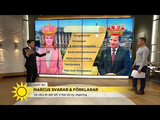 """Marcus: """"C får igenom halva sitt partiprogram och S får kungakronan"""" - Nyhetsmorgon (TV4)"""