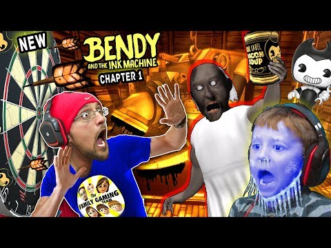 New BENDY & THE INK MACHINE Chapter 1 Update w/ FGTEEV Frozen Chase! GRANNY has DARTS! AHH!
