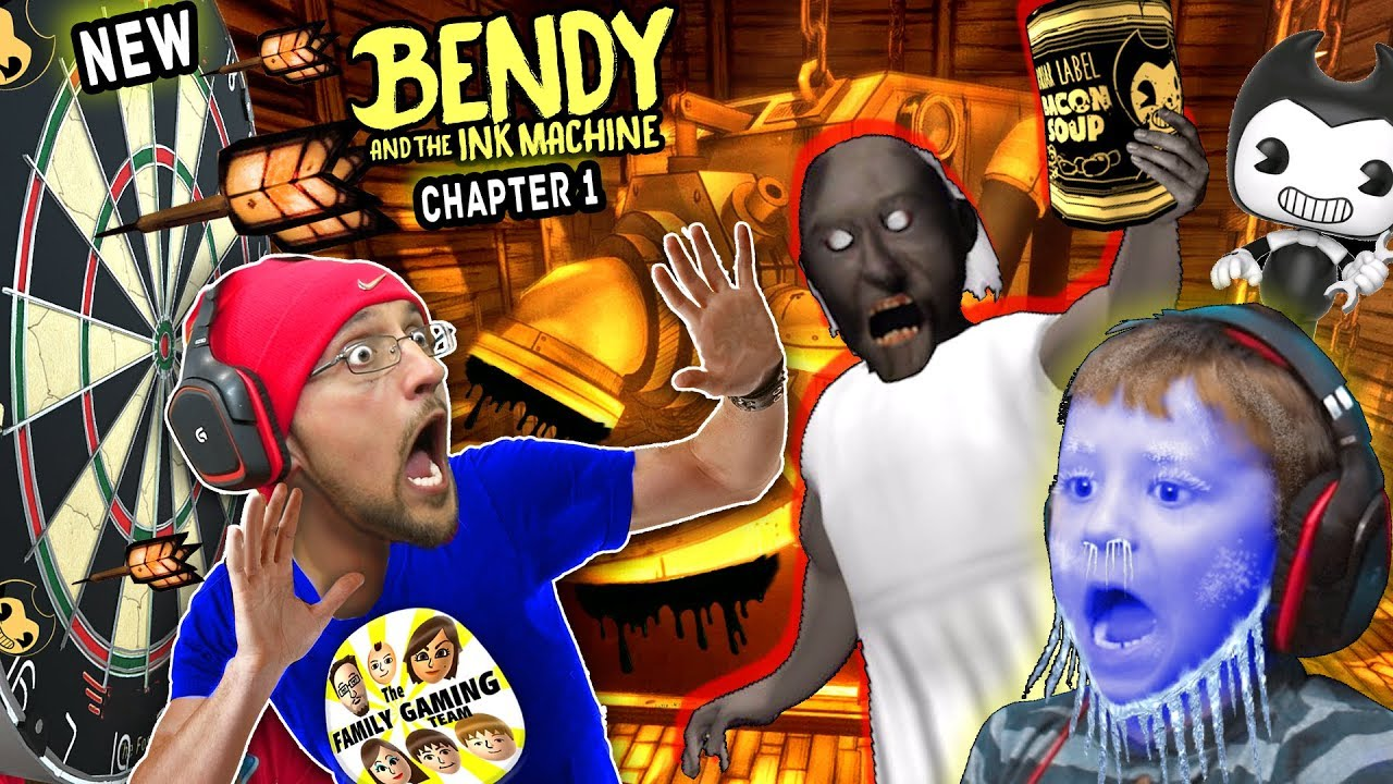 New BENDY & THE INK MACHINE Chapter 1 Update w FGTEEV Frozen Chase! GRANNY has DARTS! AHH!
