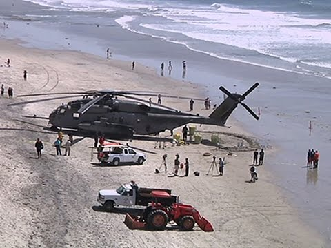 Marine Helicopter Forced to Land on CA Beach