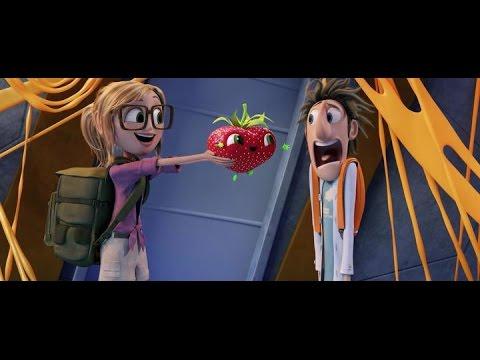 Мультфильм Облачно возможны осадки в виде фрикаделек 2: месть гмо за минуту