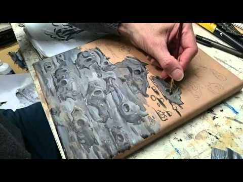Timelapse of a grisaille underpainting on canvas