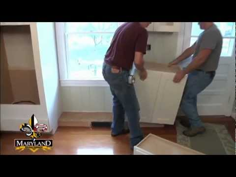 How To Install Lower Kitchen Cabinets how to install base cabinets - maryland kitchen cabinets - youtube