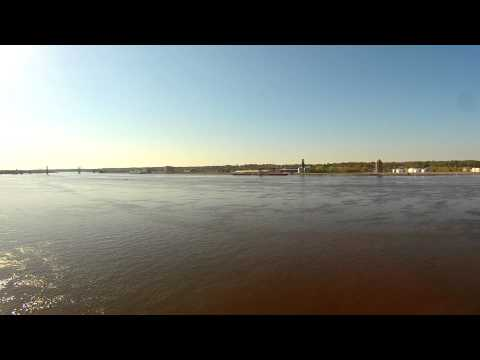 Drone filming 2 Boats cruising on the Mississippi River in Moline, IL on 4-26-2015
