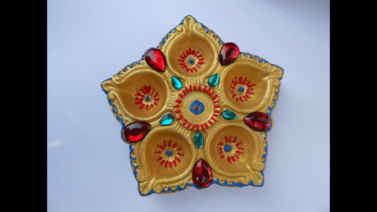 Make Designer Diwali Diya Fancy Design Using Acrylic Stones Youtube