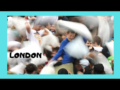 LONDON: The Very FUNNY PILLOW FIGHT Day At TRAFALGAR SQUARE