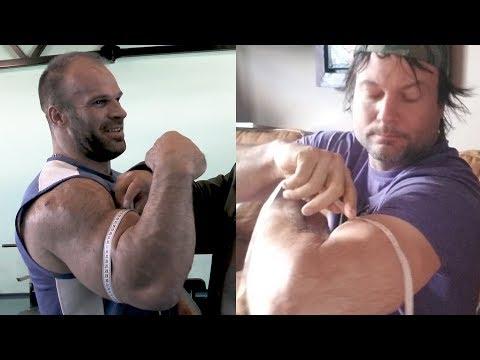 Denis Tsyplenkov's biceps vs Devon Larratt's. Sizes disclosed!