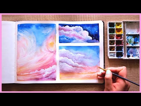 How to Paint Cotton Candy Clouds with Watercolors for Beginners  Art Journal Thursday Ep. 17