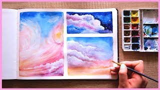 How to Paint Cotton Candy Clouds with Watercolors for Beginners | Art Journal Thursday Ep. 17