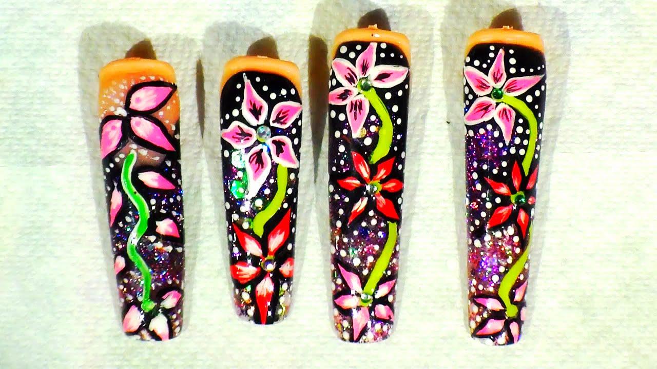 Tutorial Diseño en Mano Alzada Basico , Uñas Acrilicas , Nataly Nails ,  YouTube