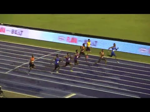 Zharnel Hughes runs World leading time defeats Yohan Blake over 100m Gibson McCook Relays 2018