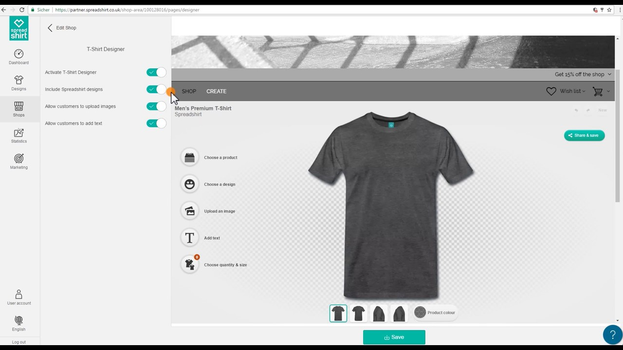SpreadShop Setup: Adding the T-Shirt Designer - YouTube