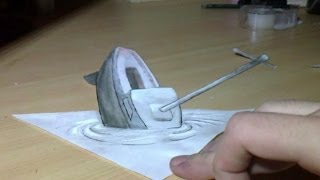 Drawing 3D Anamorphic Illusion :The boat