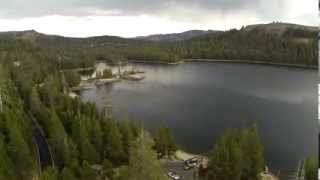 Alpine Lake California, flying quadcopter, filming lightning with Gopro Black