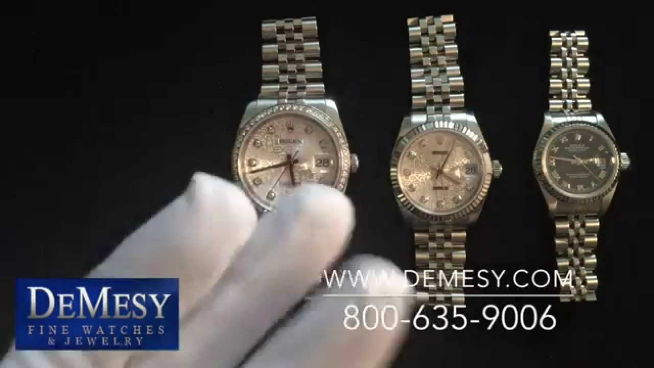 Rolex datejust size comparison (ladies 26mm, midsize 31mm, & men's.
