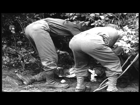 Two German soldiers surrender to US 41st Infantry, 66th Armored Regiment, 2nd Arm...HD Stock Footage