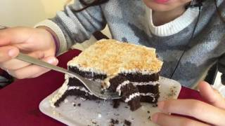 Asmr Eating German Chocolate Cake (White chocolate and toasted coconut frosting)