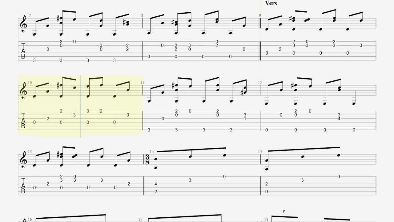 Here Comes The Sun - The Breatles - Fingerstyle Guitar TAB