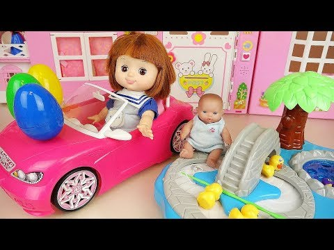 Baby doll fishing game surprise eggs toys and cooking food play