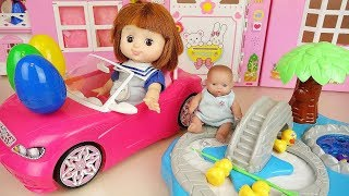 Baby doll fishing game surprise eggs toys and cooking food play Video
